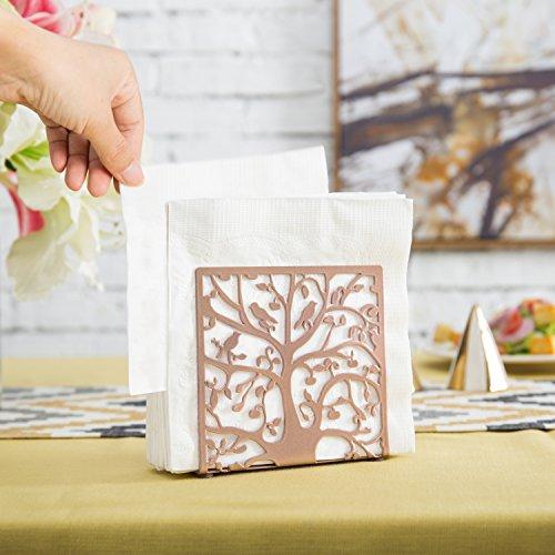 Rose Gold-Tone Metal Tree & Bird Design Tabletop Napkin Holder/Freestanding Tissue Dispenser