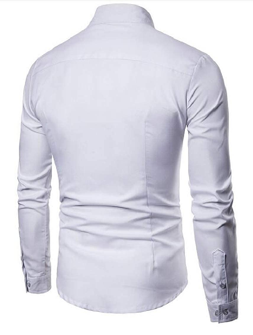 Hajotrawa Men Casual Button Front Slim Solid Long Sleeve Pleated Dress Shirt