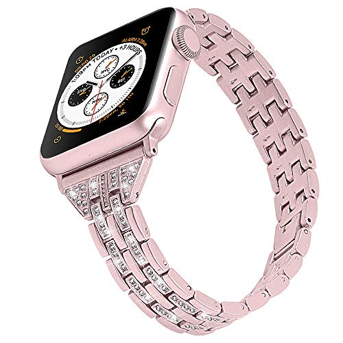 Compatible with Metal Apple Watch Band 38mm 40mm Women Slim iwatch Band Ladies Diamond for Series 4 3 2 1 Rose Gold Pink