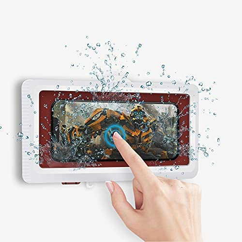 Wall Mount Shower Phone Holder Bathroom Case Waterproof Self Adhesive Bathroom Phone Holder Anti Fog Touch Screen for Bathroom Shower Kitchen Make up Compatible with Mobile Phones Under 6.8 inches