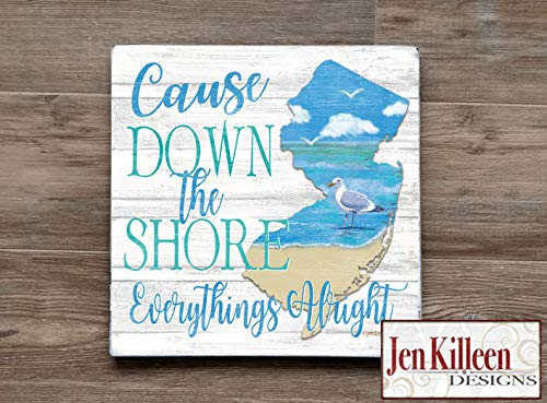 DASON Cause Down The Shore Everythings Alright New Jersey Wall Art NJ Wood Sign New Jersey Beach House Decor Jersey Shore Art (Cause Down The Shore Everythings Alright Sign)