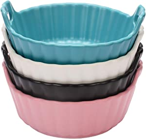 Monamour 6 In Baking Dish, 18.5 OZ Round Matte Porcelain Bakeware, Stackable Baker with Double Handle, Small Size, Set of 4 (Assorted Colors)