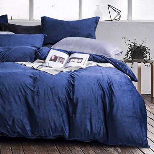NTBAY Flannel Fleece Plush Duvet Cover, 3 Pieces Microfiber Lightweight and Cozy Bedding Set, Queen, Navy Blue