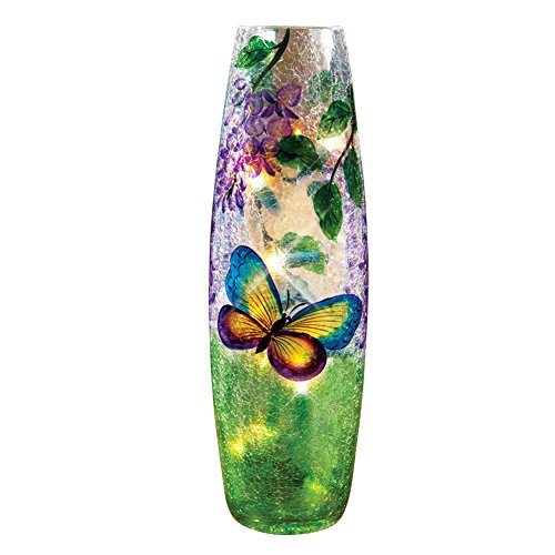 Lighted Wisteria Crackled Butterfly Glass Lamp, (Green Glass Hurricane)