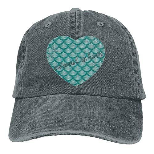 (Mermaid at Heart 4 Denim Hat Adjustable Men's Plain Baseball Hat AsphaltOne)