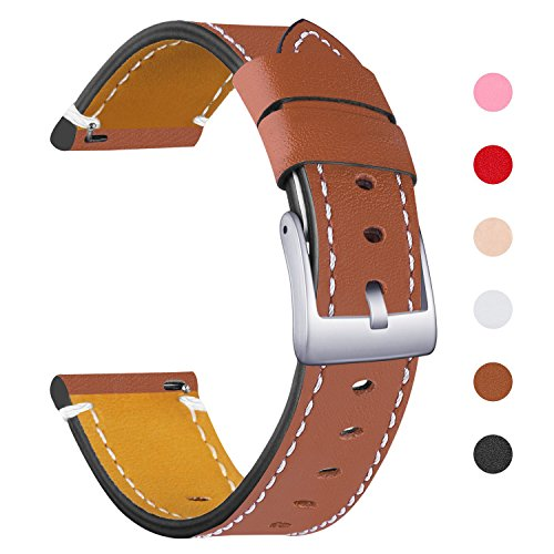Mornex Bands Compatible Fitbit Versa Strap, Genuine Leather Replacement Wristband, Fitness Adjustable Watch Band