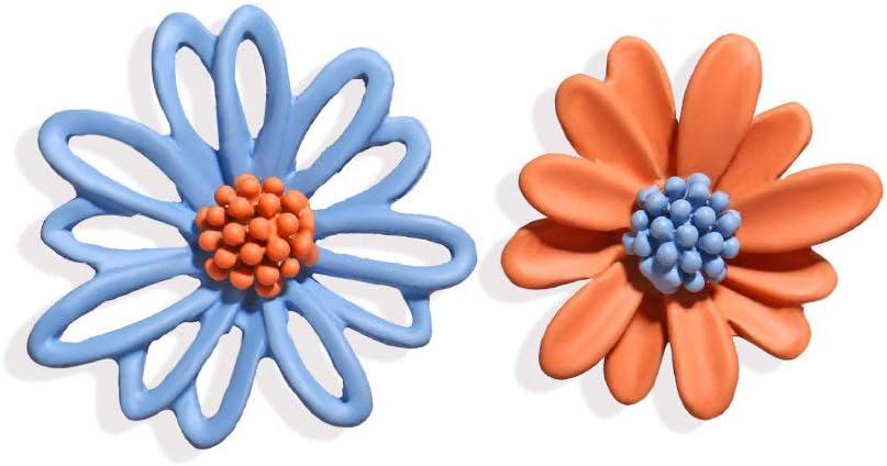 WSXEDC Stud Pendientes,Pendiente De Margarita Azul Naranja Retro Encantador Regalo Creación Poética Aniversario De Bodas Fiesta De Graduación De Regreso A La Escuela