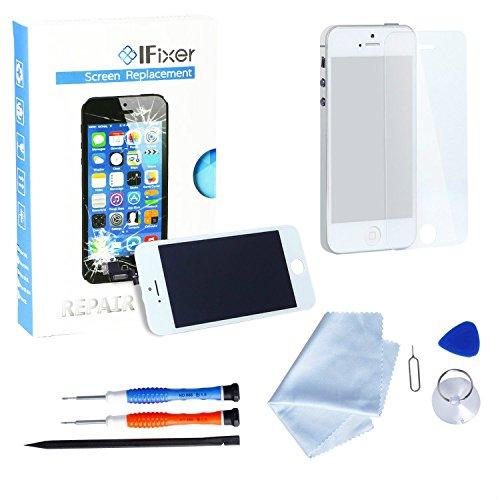 IFixer für iPhone 5 LCD Display Bildschirm Ersatz Touchscreen Front Glas Ersatzteile-Set Werkzeugset inklusive Digitizer-Professionell Reparatur-Flussdiagramm Weiß