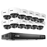 ANNKE 16CH POE Security Camera System 6MP NVR Recorder and (12) 2MP HD IP Outdoor Bullet Cameras, IP66 Weatherproof with 100ft Night Vision, Motion Activated Mobile App Remote View, NO HDD