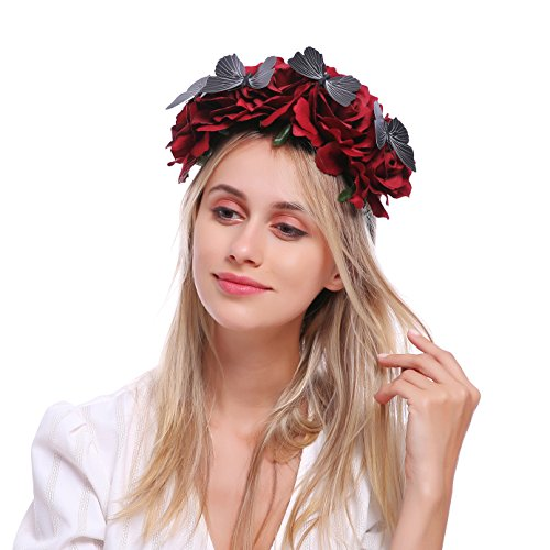 Love Sweety Halloween Vintage Crown Rose Headband Gothic Floral Headpiece (Red)]()