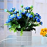 Toponechoice Home Decor Built-in LED Light Air Ioniser Artificial Silk Tea Rose Flower in Vase