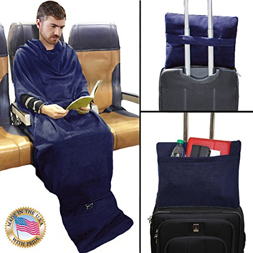 The Smart Blanket - Convenient Wearable Throw Blanket - Travel, Home, Office Anywhere - Made in USA - Size: SM / MED - Color: Navy