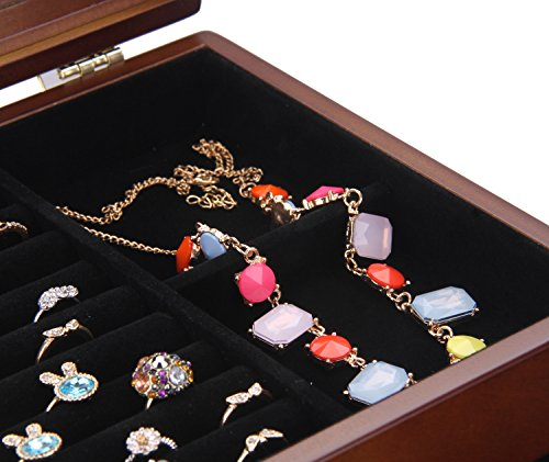 Large Wooden Jewelry Box Necklace Ring Armoire Crate on Dresser Chest Organizer Armoire11.6 inch x7.87 inch x11.2 inch by BELLAMORE GIFT (Image #5)