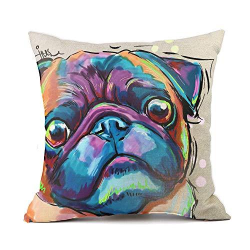 "Redland Art Cute Pet Bulldog Dog Pattern Throw Pillow Covers Cotton Linen Cushion Cover Cases Pillowcases Sofa Home Decor 18""x 18""Inch 45cm"