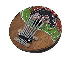 Wood Thumb Pianos Hand Crafted Coconut And Wood 7 Key Gecko Mbira Thumb Piano 5.5 X 2 X 5 Inches Multicolored