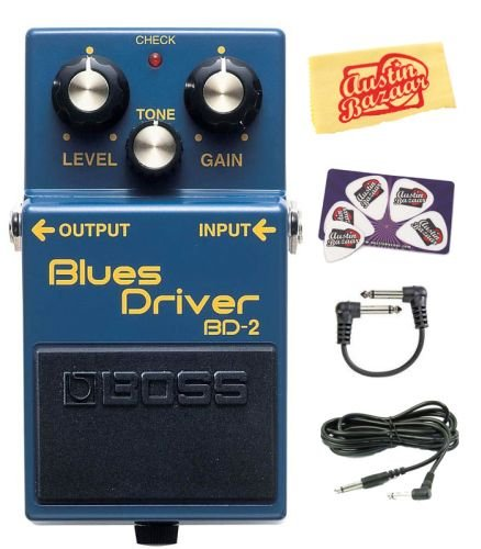 Boss BD-2 Blues Driver Guitar Effects Pedal Bundle with Instrument Cable, Patch (Driver Pedal)