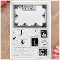 MaGuo Vintage Typewriter Pen and Ink Envolope Clear Stamps for Card Making Decoration and DIY Scrapbooking