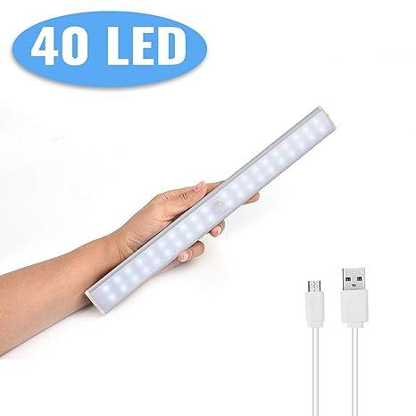 (24/40/60LED) Luces de Armario Sensor de Movimiento,Lacyie 40LED 2000mAh USB Recargable Automático Luz con Interruptor Tira Magnética Barra,Lámpara ...