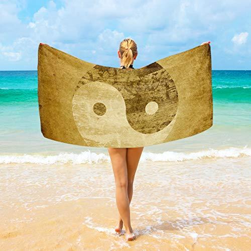 WIHVE Quality Beach Towel Vintage Taiji Yinyang Large Beach Blanket High Absorbency Multi-Purpose Bath Towel 37 X 74 Inches