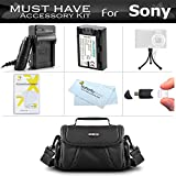 Essential Accessories Kit For Sony Cyber-Shot DSC-HX100V, DSC-HX200V Digital Camera Includes Extended (1000mAh) Replacement NP-FH50 Battery + Ac/Dc Travel Charger + Deluxe Case + USB Reader + Screen Protectors + MicroFiber Cloth + More