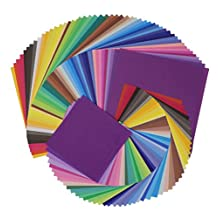 """SOOKOO 50 Vivid Colors 200 Sheets 6"""", 4"""" Square Different Sizes Origami Paper for Arts and Crafts Projects, 100 Sheets 6 x 6 inch , 100 Sheets 4 x 4 inch"""