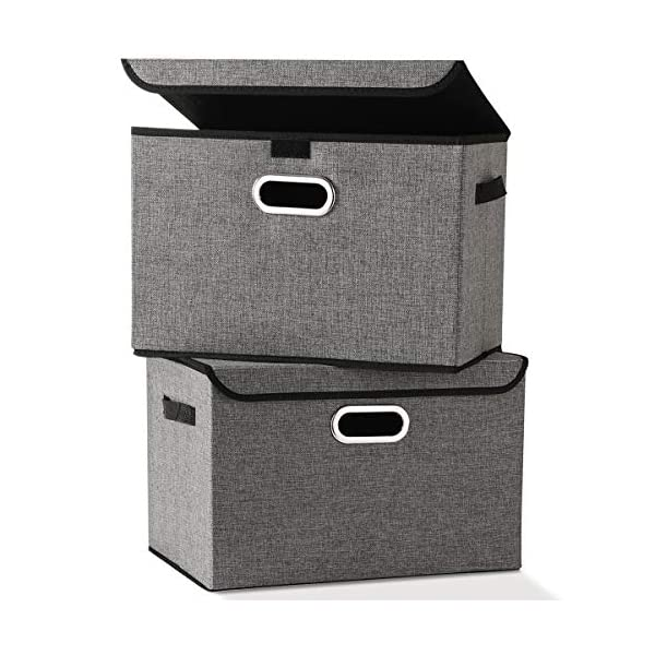 Large Foldable Storage Box Bin with Lids[2-Pack] NO Smell Stackable Linen Fabric Storage Container Organizers with Handles for Home Bedroom Closet Nursery Office (Gray Color)