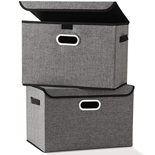 Large Foldable Storage Box Bin with Lids[2-Pack] NO Smell Stackable Linen Fabric Storage Container Organizers with Handles for Home Bedroom Closet Nursery Office (Gray Color) ()