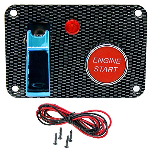 difcuyg5Ozw Universal Carbon Fiber Car Vehicle Ignition Engine Panel Switch Start Button, Rocker Switch with LED indicator Easy Install - Blue