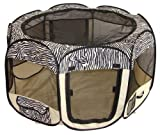 Best Pet Folding Play Pen - Medium - Zebra Skin