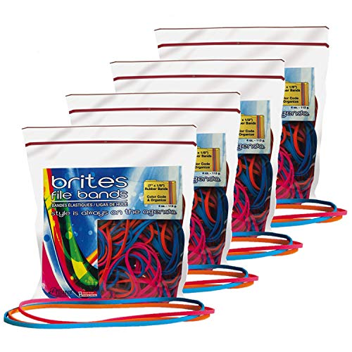 Alliance Rubber 07800 Non-Latex Brites File Bands, Colored Elastic Bands, 200-Count (7