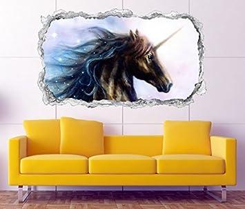 3D Wandtattoo Einhorn Pferd Kinderzimmer Märchen Sterne Wand Aufkleber  Durchbruch Stein Wandbild Wandsticker 11N1056, Wandbild