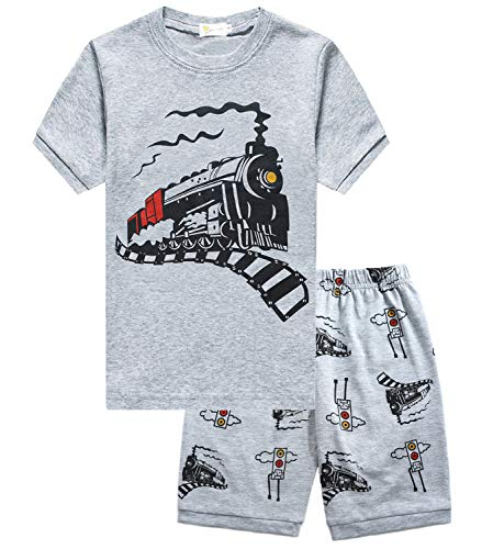 Little Hand Boys Kids Toddler Pajamas Truck Train 2 Piece Pjs Set 100% Cotton Summer Clothes for Size 3T ()
