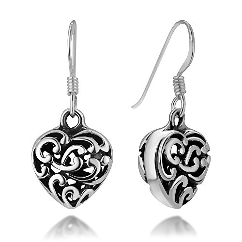 (925 Oxidized Sterling Silver Bali Inspired Filigree Open Puffed Heart Dangle Hook Earrings 0.9