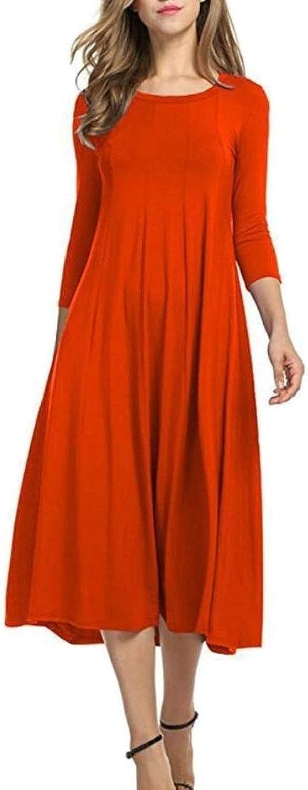 xiaohuoban Women Fashion 3 4 Sleeve A Line Swing Loose Casual Midi Dresses