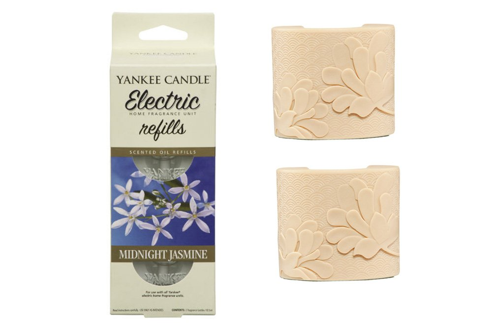 YANKEE CANDLE Scent Plug In Air Freshener STARTER SET - 2 x IVORY plugs and 2 x Refills (1 Twinpack) (MIDNIGHT JASMINE (& 2 iVORY)) Cheshire Home Fragrance