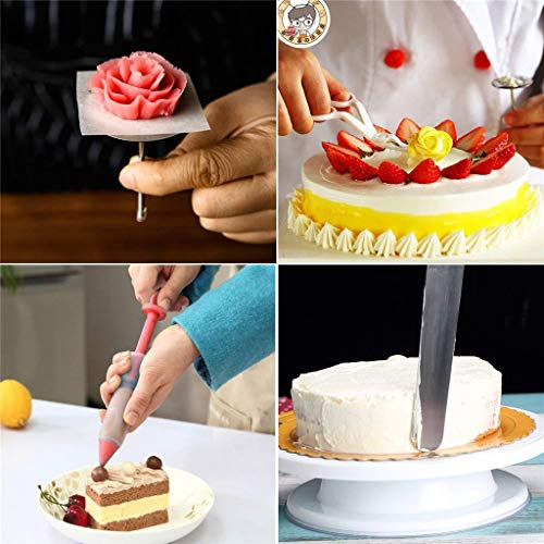 Whryspa 11 Inch Rotating Cake Turntable, Stand Spinner Baking Decorating Supplies with Icing Spatula, Icing Tips, Pastry Bag, Icing Smoother by Whryspa (Image #3)