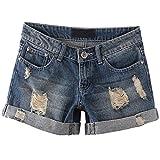 Happyyip Womens Vintage Low Waist Fringe Denim Shorts Jeans Vary Styles