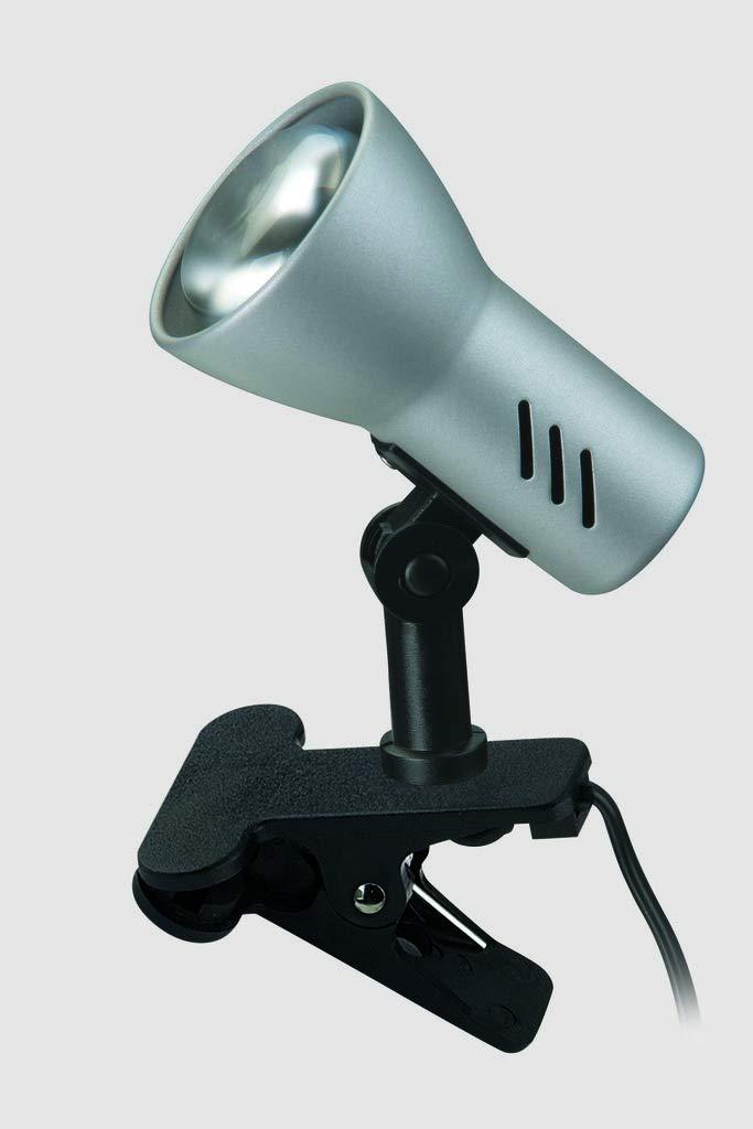 Klemmleuchte dreh- und schwenkbar Briloner Leuchten 40W Klemmlampe mit Schnurschalter Titanfarbig