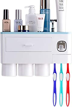 Blue Multifunctional Wall-Mounted Toothbrush Holder Attoe Automatic Toothpaste Dispenser Space Saving Toothbrush Organizer with 3 Cups and 1 Drawers for Bathroom
