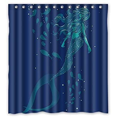 ZHANZZK Vintage Mermaid Waterproof Bathroom Shower Curtain 66x72 Inches - Polyester fabric. Plastic hooks included. Machine/Hand washable. - shower-curtains, bathroom-linens, bathroom - 51p TbcnOML. SS400  -