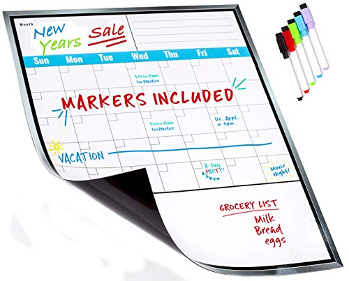 Large Dry Erase Monthly Magnetic Calendar Set for Refrigerator, Magnetic White Board and Fridge Calendar, 5 Multi-Color Markers with Magnets Included ()
