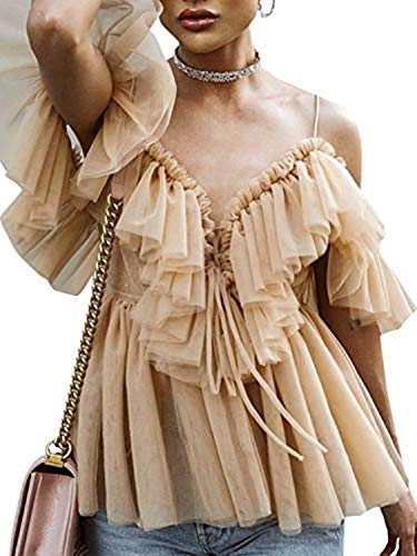 Simplee Women's Sexy Off Shoulder Deep V Neck Tops Lace Up Ruffle Blouse Shirt Nude ()