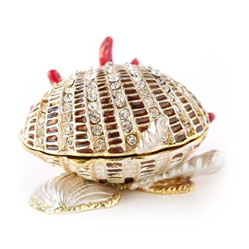 Enamel Shell (Hand- Painted SeaShell Trinket Box with Rich Enamel and Sparkling Rhinestones Jewelry Trinket Box (Coral Seashell))