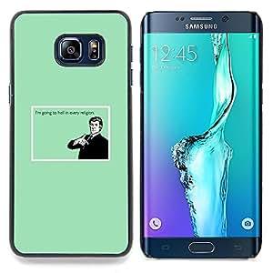 """Qstar Arte & diseño plástico duro Fundas Cover Cubre Hard Case Cover para Samsung Galaxy S6 Edge Plus / S6 Edge+ G928 (Infierno Religión Cita divertida Humor Creencia Diablo"""")"""
