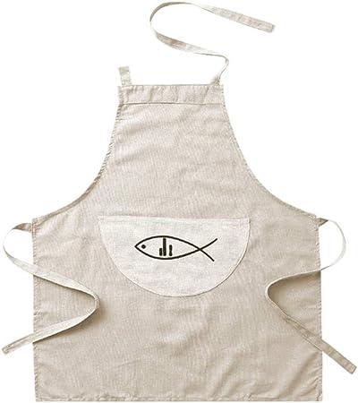 Delantal de Lino de algodón japonés Cocina Simple Cocinar Hornear Delantal Ropa de Trabajo Bata de Cama Pareja Pinafore Delantal (Color : B): Amazon.es: Hogar