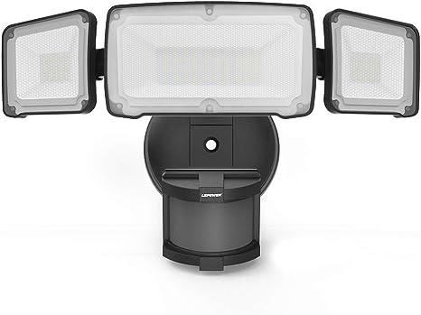 LEPOWER 35W LED Security Lights Motion Sensor Light Outdoor, 3500LM Flood Light Dusk to Dawn, Waterproof IP65, 6000K, Full Metal, 3 Head Motion ...