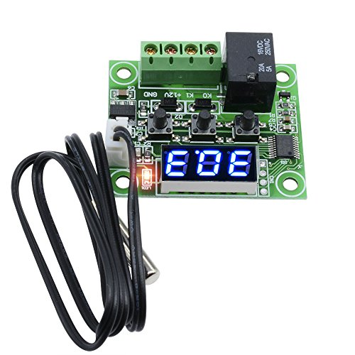 Diymore W1209 Digital Blue LED Display DC 12V Heat Cool Temp Thermostat Temperature Control Switch Module On/Off Controller Board + NTC Sensor
