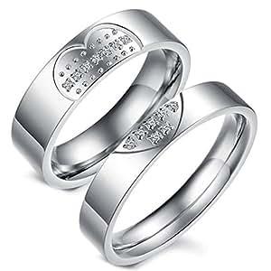 Flongo 2 Anillos Pareja, Hombres Mujer, Corazón Rompecabezas, Anillos Compromiso/Matrimonio, Acero Inoxidable Circoneta, Regalo para Día de los Enamorados