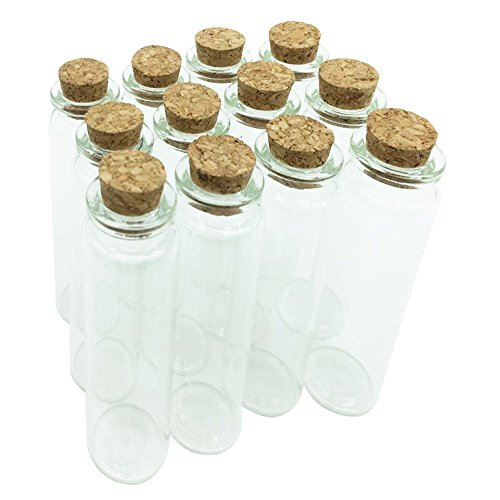 (Guestway Tiny Small Glass Bottle Clear Sample Jars with Cork DIY Wedding Wishing Bottle Message Mini Corked Vial for Sand Art Crafts Project Party Decoration 20ml Pack of 12)