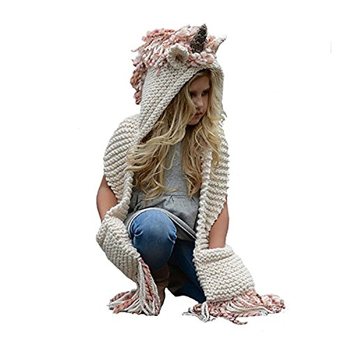 Winter Baby Kids Hat and Scarf, Unicorn/Rabbit/Bear/Fox/Cat Animal Windproof Hats Knitted coif Hood Scarf Beanies For Autumn Winter (Pink-Unicorn)